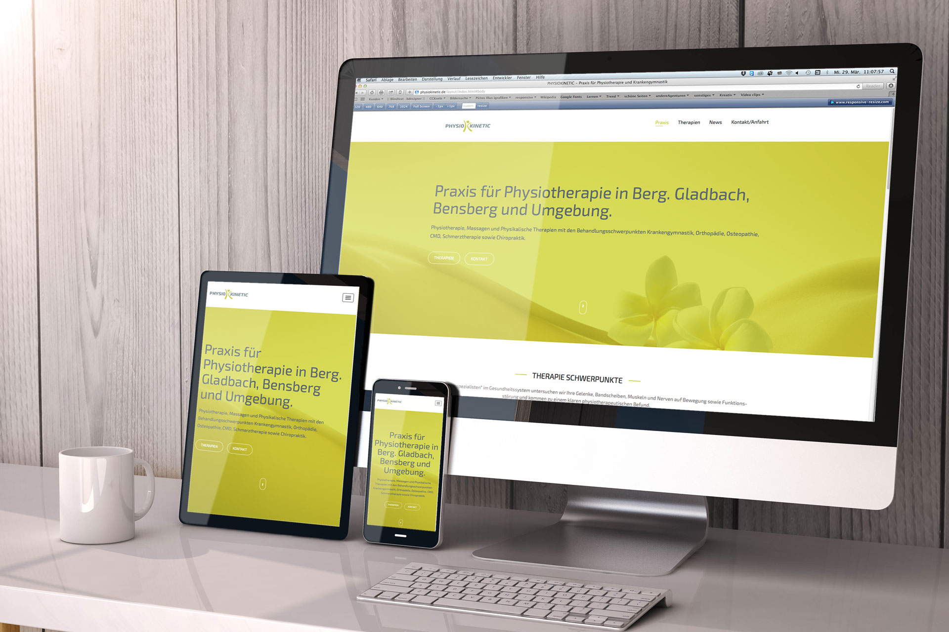 Responsive Webdesign Praxis für Physiotherapie - Physiokinetic.de